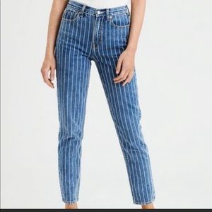 American Eagle Outfitters Striped Mom Jeans Sz 10S